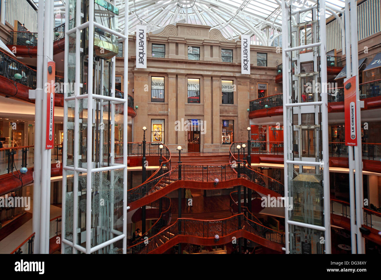 Princes Square Shopping Centre Interior Glasgow City Centre Strathclyde Scotland UK - Stock Image