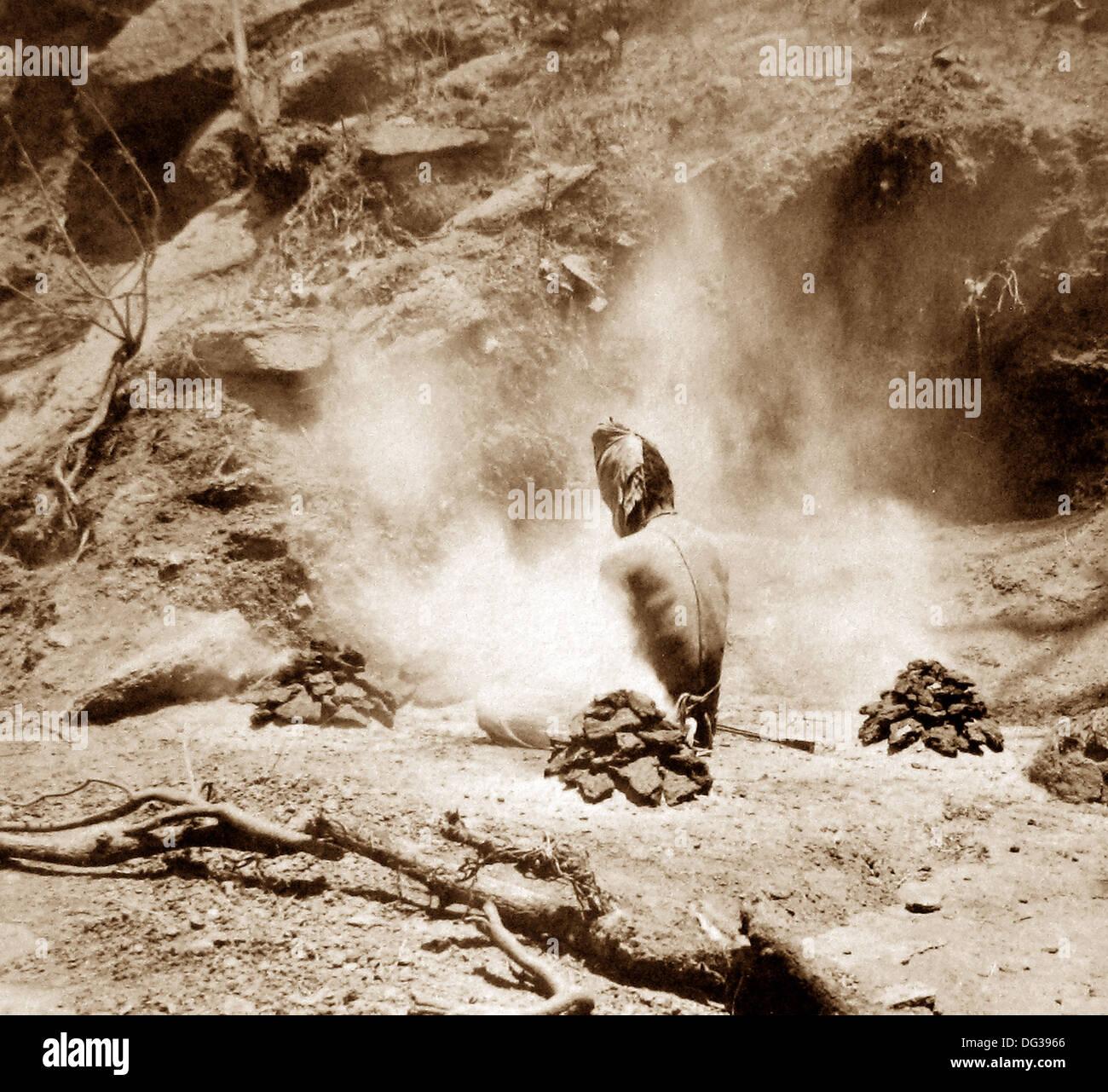 India - Hermit doing penance Gem Lake Mount Abu early 1900s - Stock Image