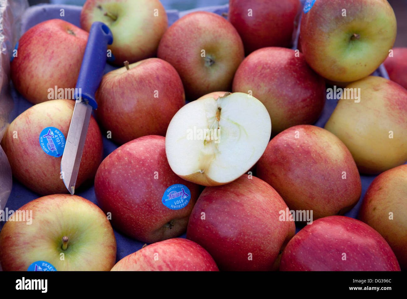 Apples (Malus x domestica) at a market stall, Hanover, Lower Saxony, Germany, Europe - Stock Image