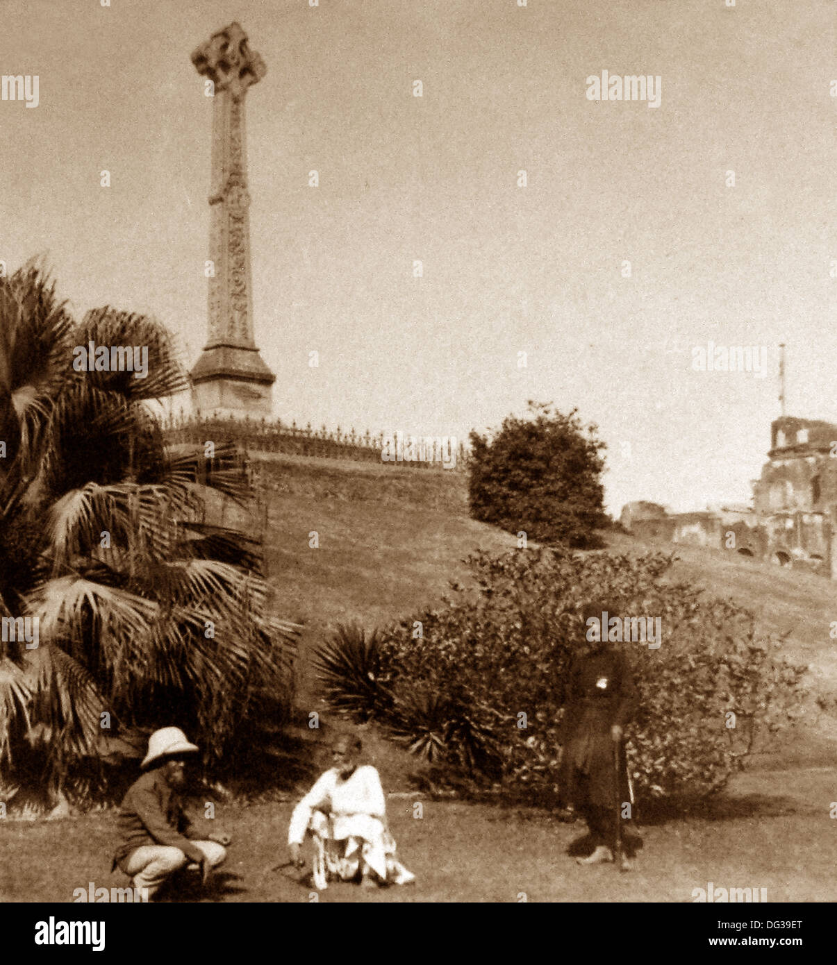 India - Lucknow Memorial to Sir Henry Lawrence early 1900s - Stock Image