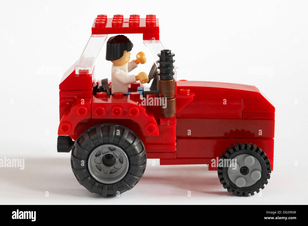Tractor made from Wilko blox building blocks isolated on white background - Stock Image