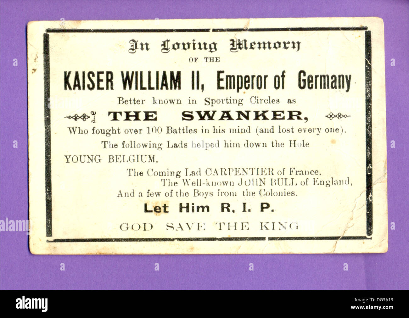 World War One comic card mourning death of  the Kaiser - Stock Image