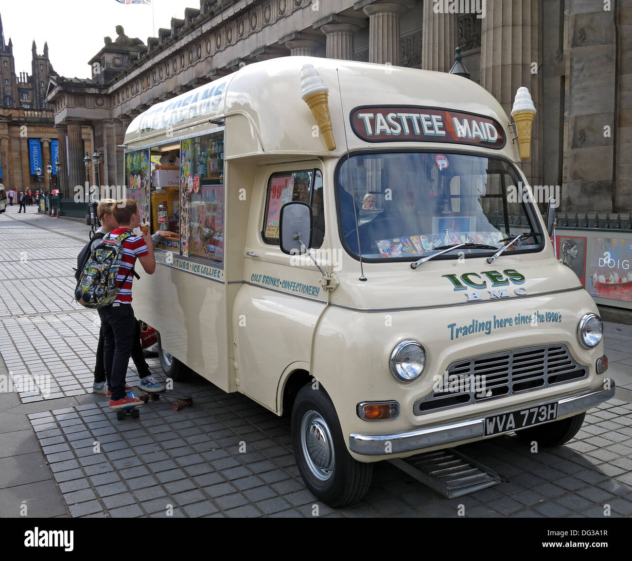 Classic creme coloured Tasttee Maid ice cream van from the 1960s in Edinburgh city centre Scotland UK 2013 - Stock Image