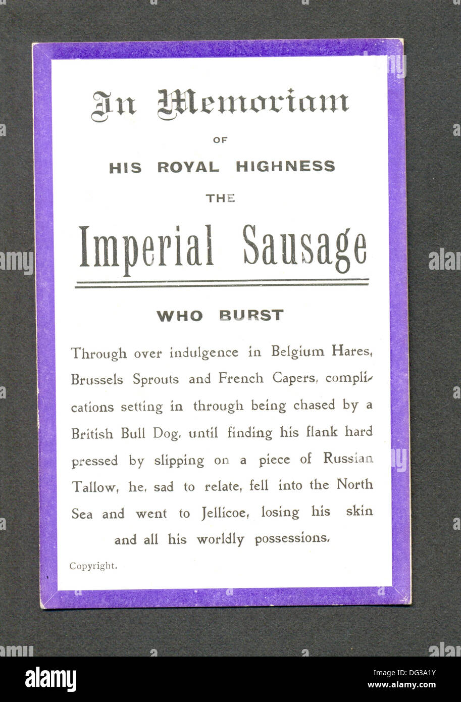 World War One comic card mourning death of  the German sausage - Stock Image