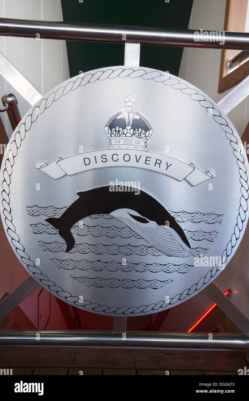 The emblem of the new RRS Discovery at home in Empress Dock next to the National Oceanography Centre, Southampton - Stock Image
