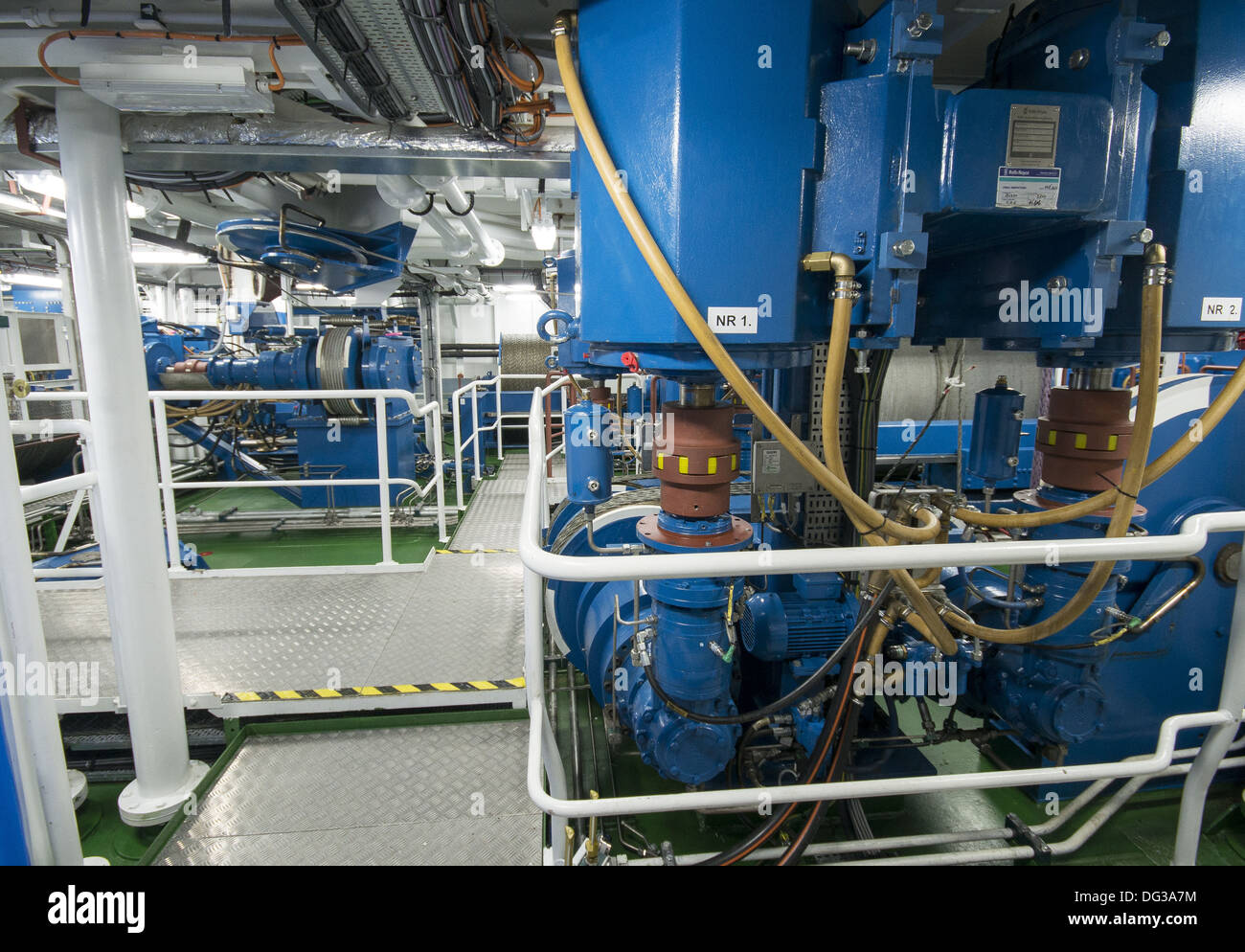 The engine room on the new RRS Discovery at home in Empress Dock next to the National Oceanography Centre, Southampton - Stock Image