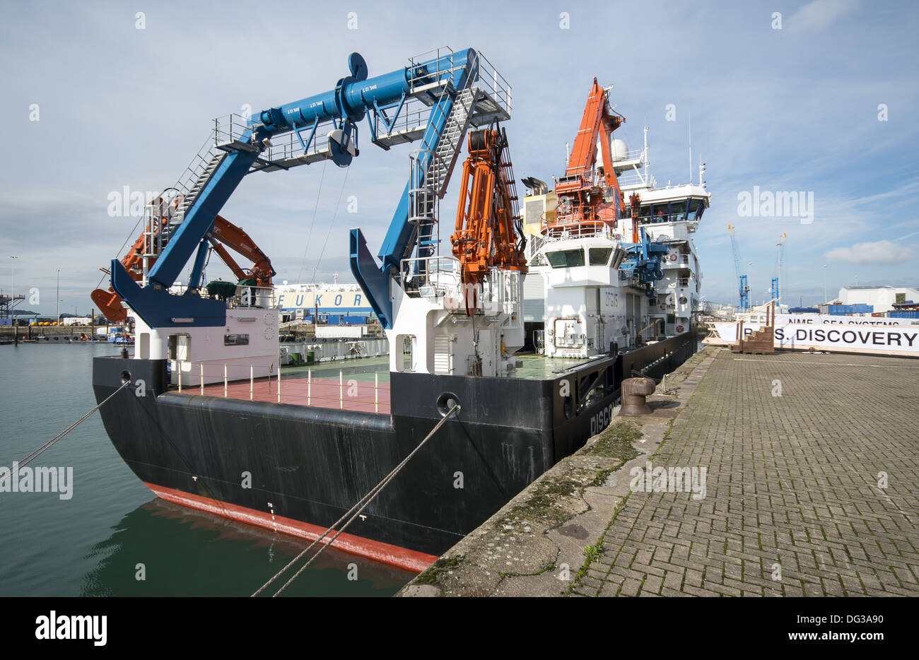 The new RRS Discovery at home in Empress Dock next to the National Oceanography Centre, Southampton, Hampshire, England, UK - Stock Image