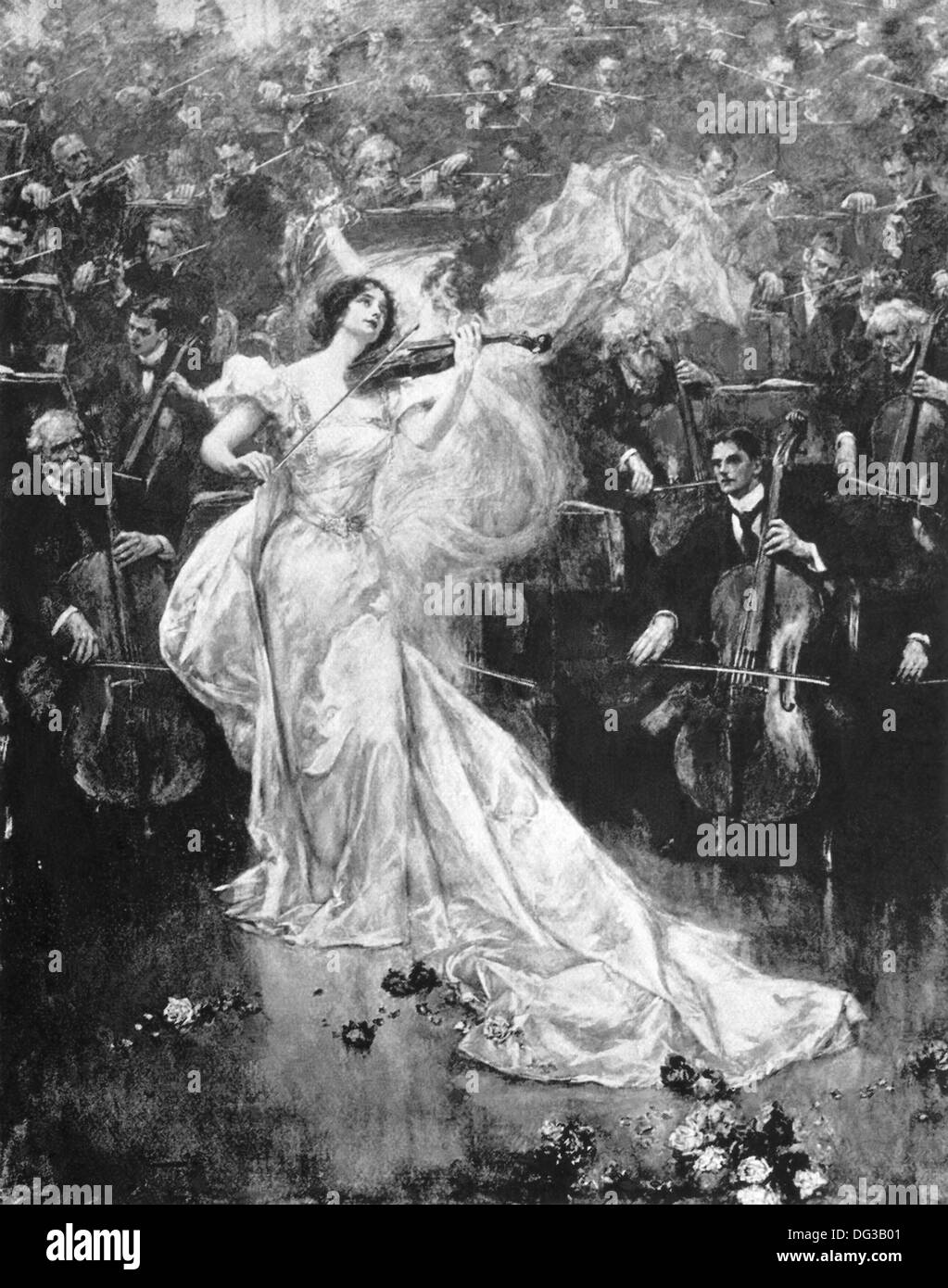 This illustration appeared in London-based Penrose Pictorial Annual of 1900. This image show a woman playing a violin concerto. - Stock Image