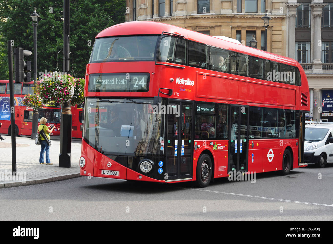 'New bus for London' (commonly known as NB4L or New Routemaster), Near Trafalgar Square, London - Stock Image