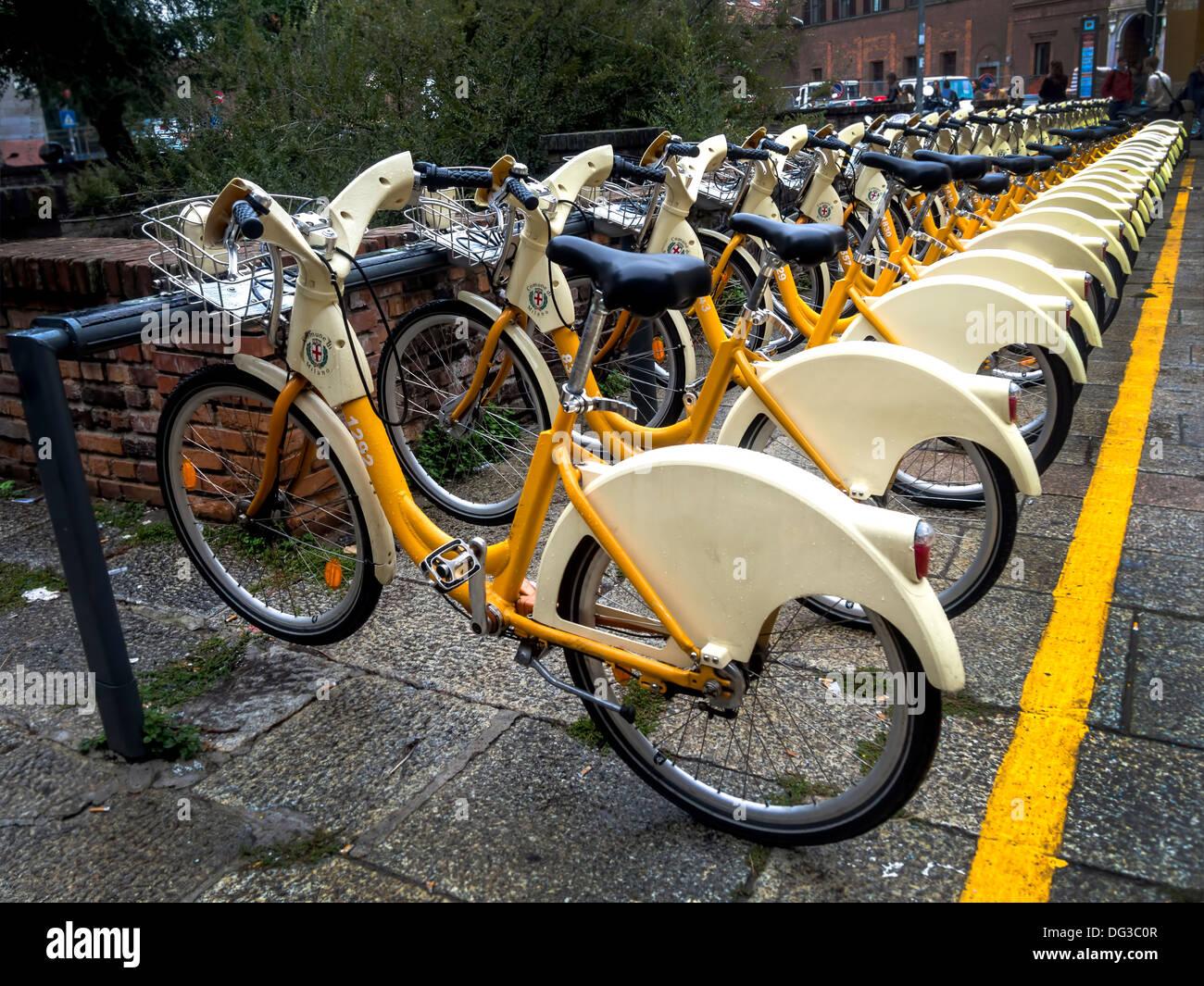 Public city bikes in Milano, Italy - Stock Image