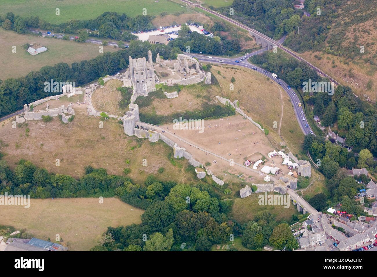 Aerial view of Corfe Castle, Dorset Stock Photo