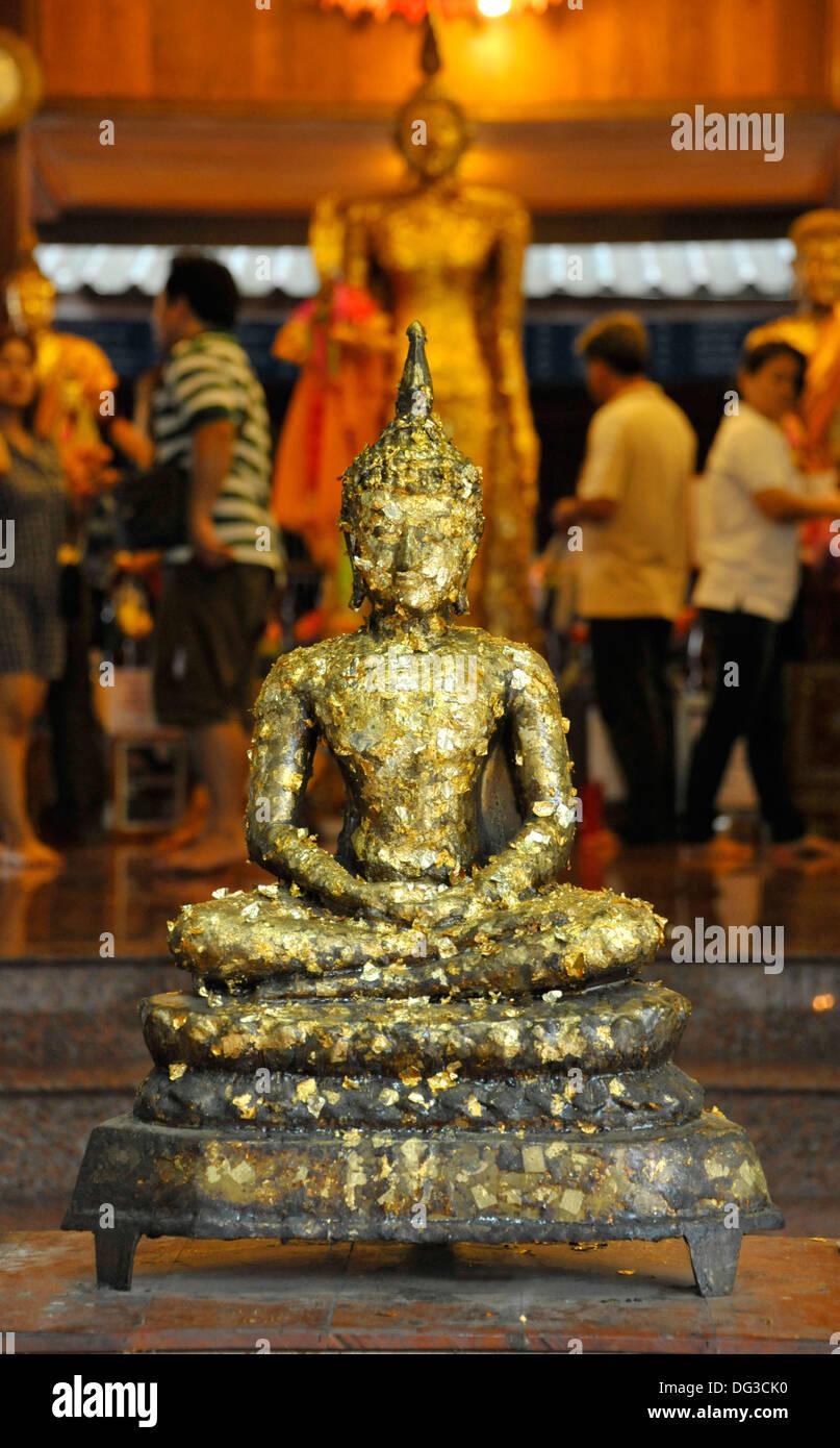 Image Of Buddha Covered In Gold Leaf Donations At Wat Bang Ko Theppasak Amphawa Samut Songkhram Thailand