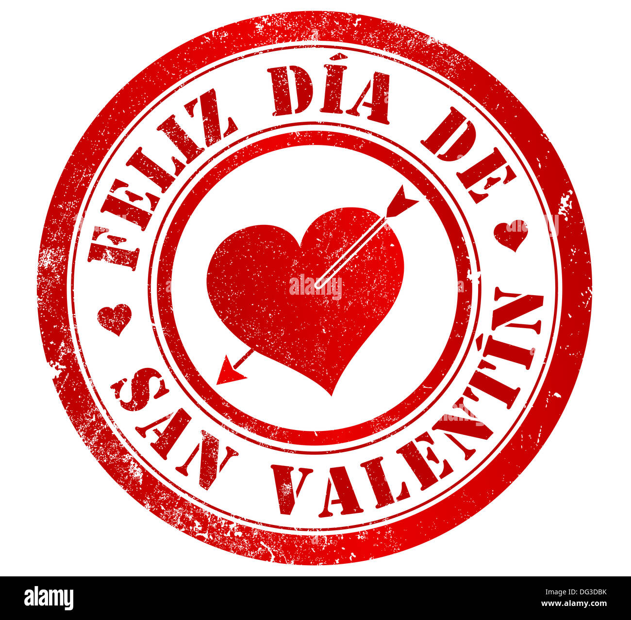 Happy Valentines Day Grunge Stamp In Spanish Language Stock Photo