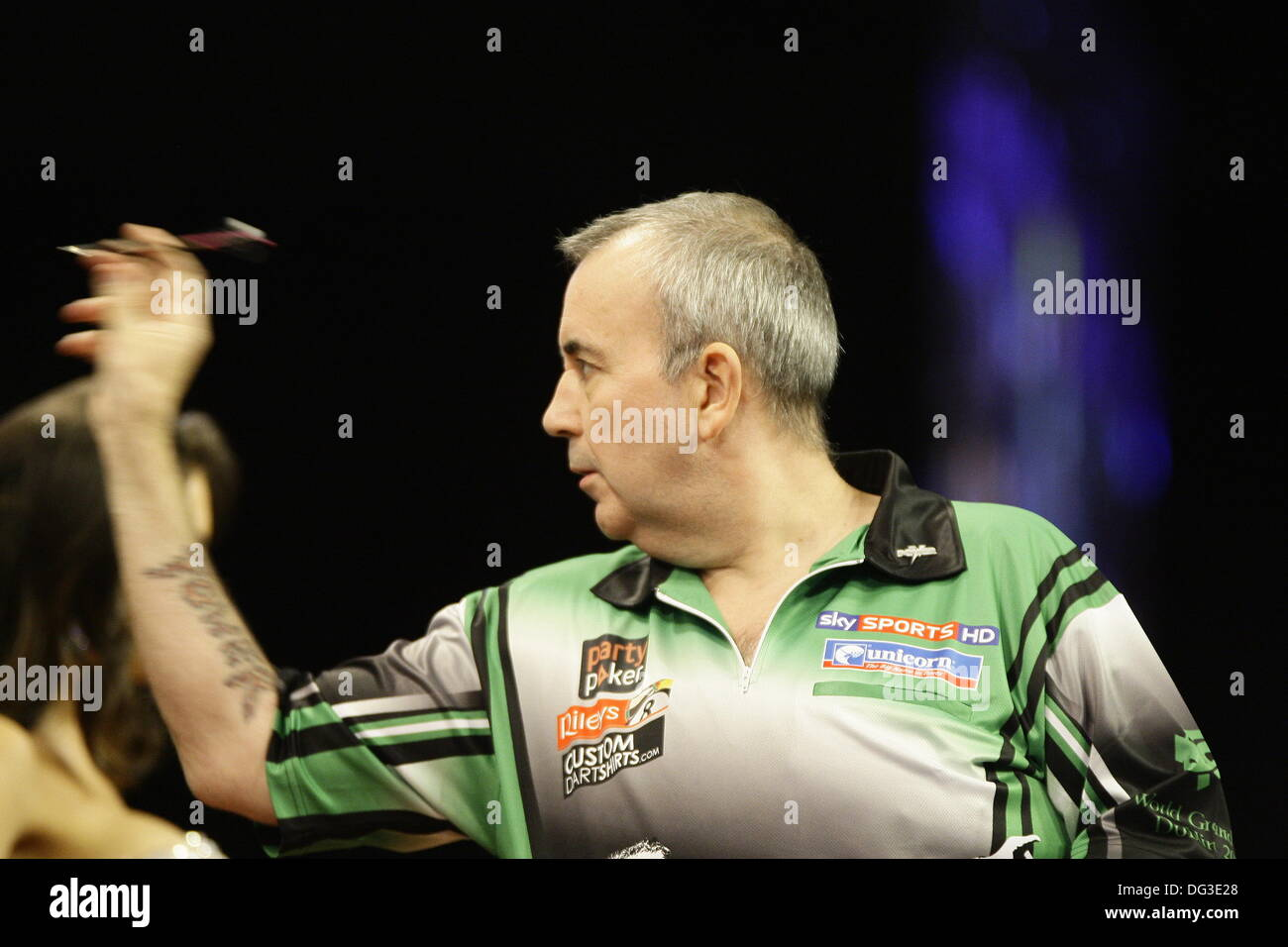 Dublin, UK. 13th Oct, 2013. Dublin, UK. 13th Oct, 2013. PDC Party Poker World Grand Prix  Darts  -The Final: Phil Taylor in action against Dave Chisnall at the Cirtwest Hotel, Dublin, Ireland © Michael Cullen/Alamy Live News Credit:  Michael Cullen/Alamy Live News - Stock Image