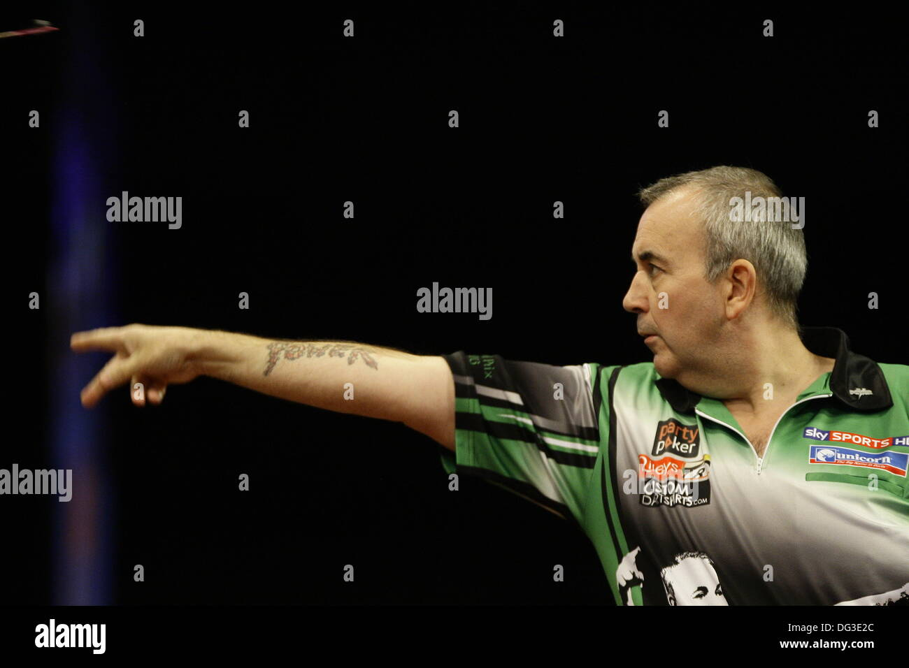 Dublin, Irl. 13th Oct, 2013. Dublin, UK. 13th Oct, 2013. PDC Party Poker World Grand Prix  Darts  -The Final: Phil Taylor in action against Dave Chisnall at the Cirtwest Hotel, Dublin, Ireland © Michael Cullen/Alamy Live News Credit:  Michael Cullen/Alamy Live News - Stock Image
