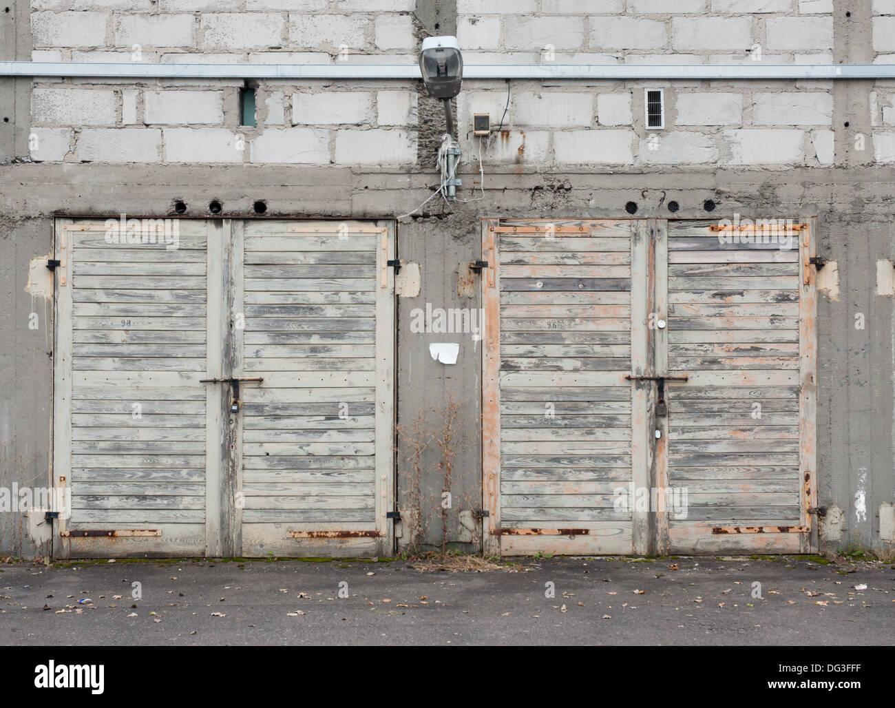 Set of old garage doors - Stock Image