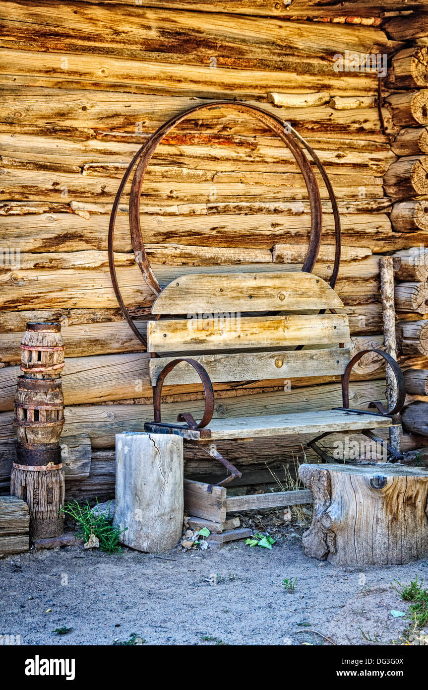 Carreteria (Wheelwright Shop), El Rancho de la Golondrinas, Los Pinos Road, Santa Fe, New Mexico - Stock Image