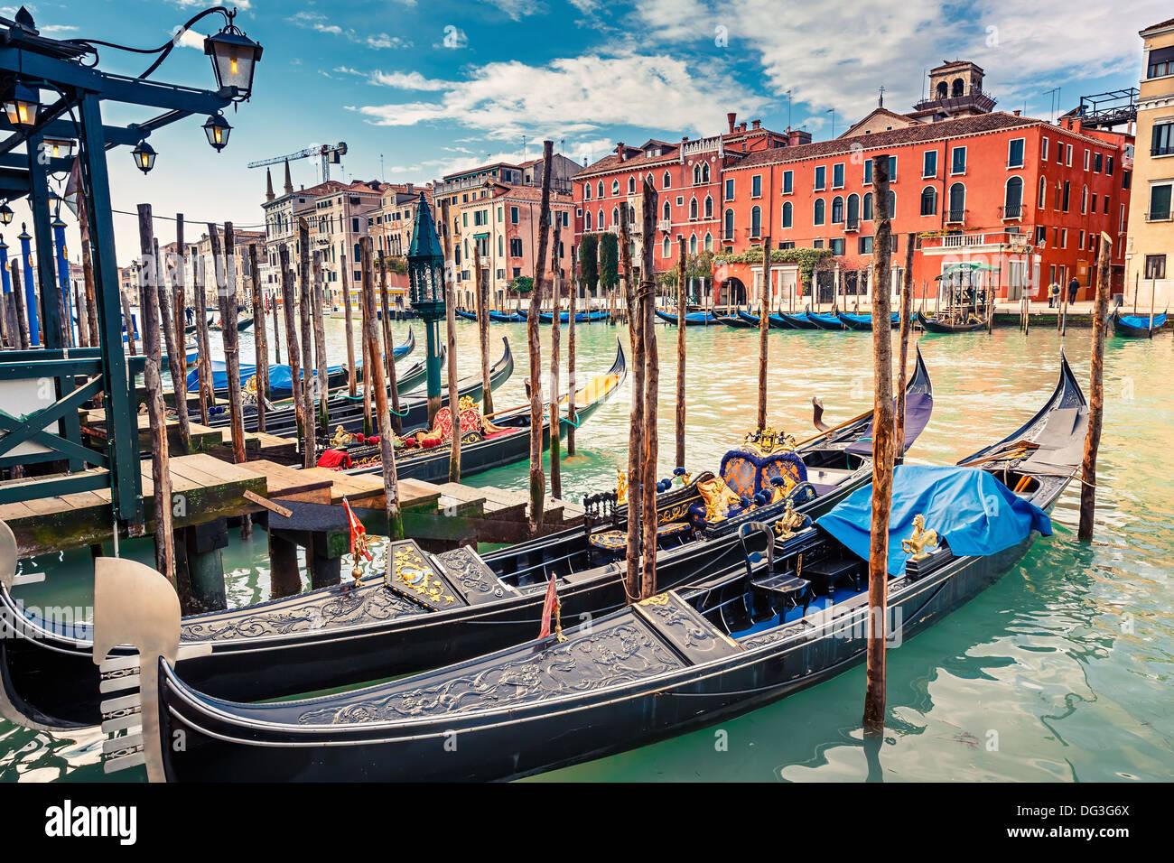 Gondolas on Grand canal in Venice - Stock Image