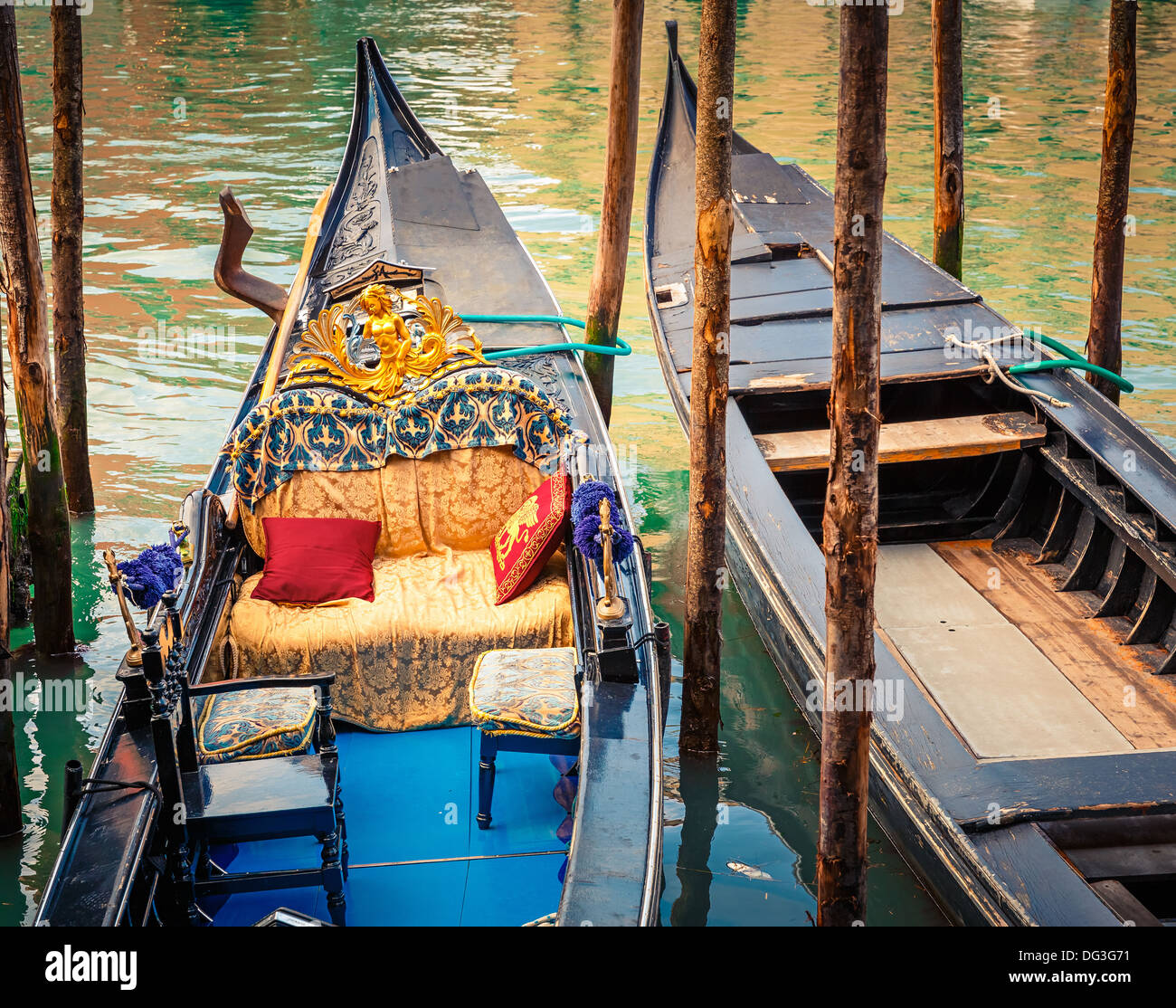 Gondolas on canal in Venice - Stock Image