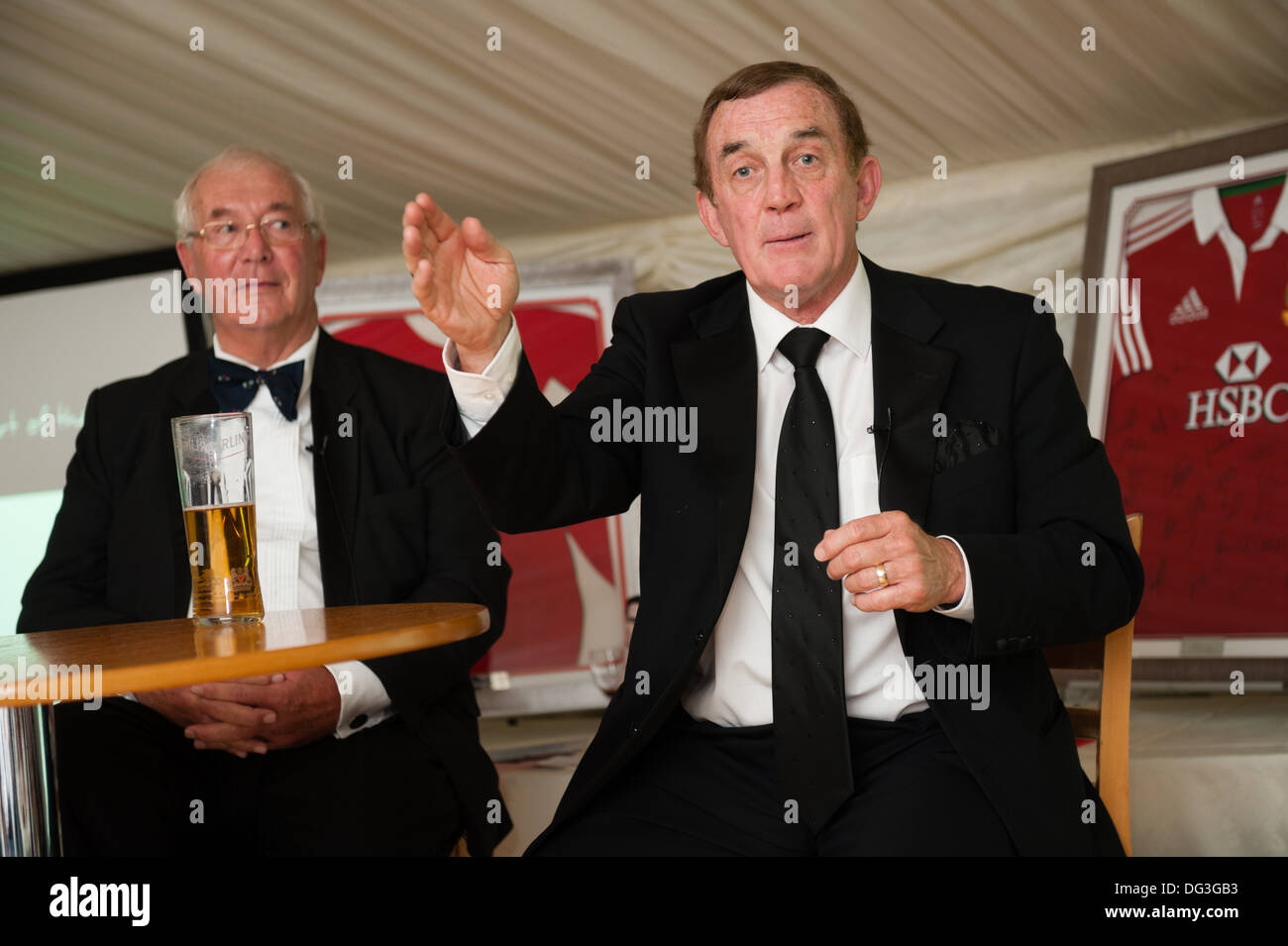Legendary Wales international rugby players - PHIL BENNETT (speaking) and JOHN DAWES - Stock Image