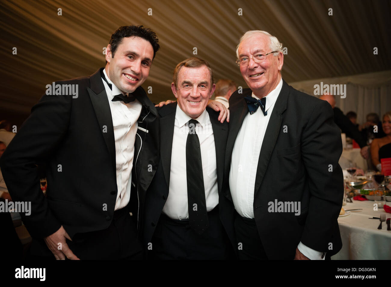 Three legendary Wales international rugby players together - STEPHEN JONES, PHIL BENNETT, JOHN DAWES - Stock Image