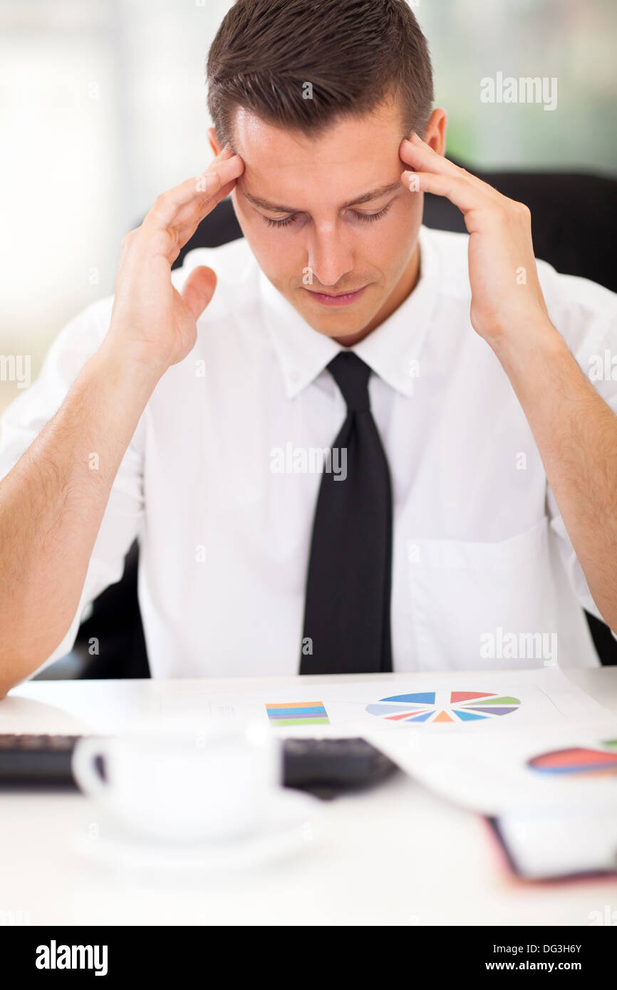 portrait of stressful businessman at work - Stock Image