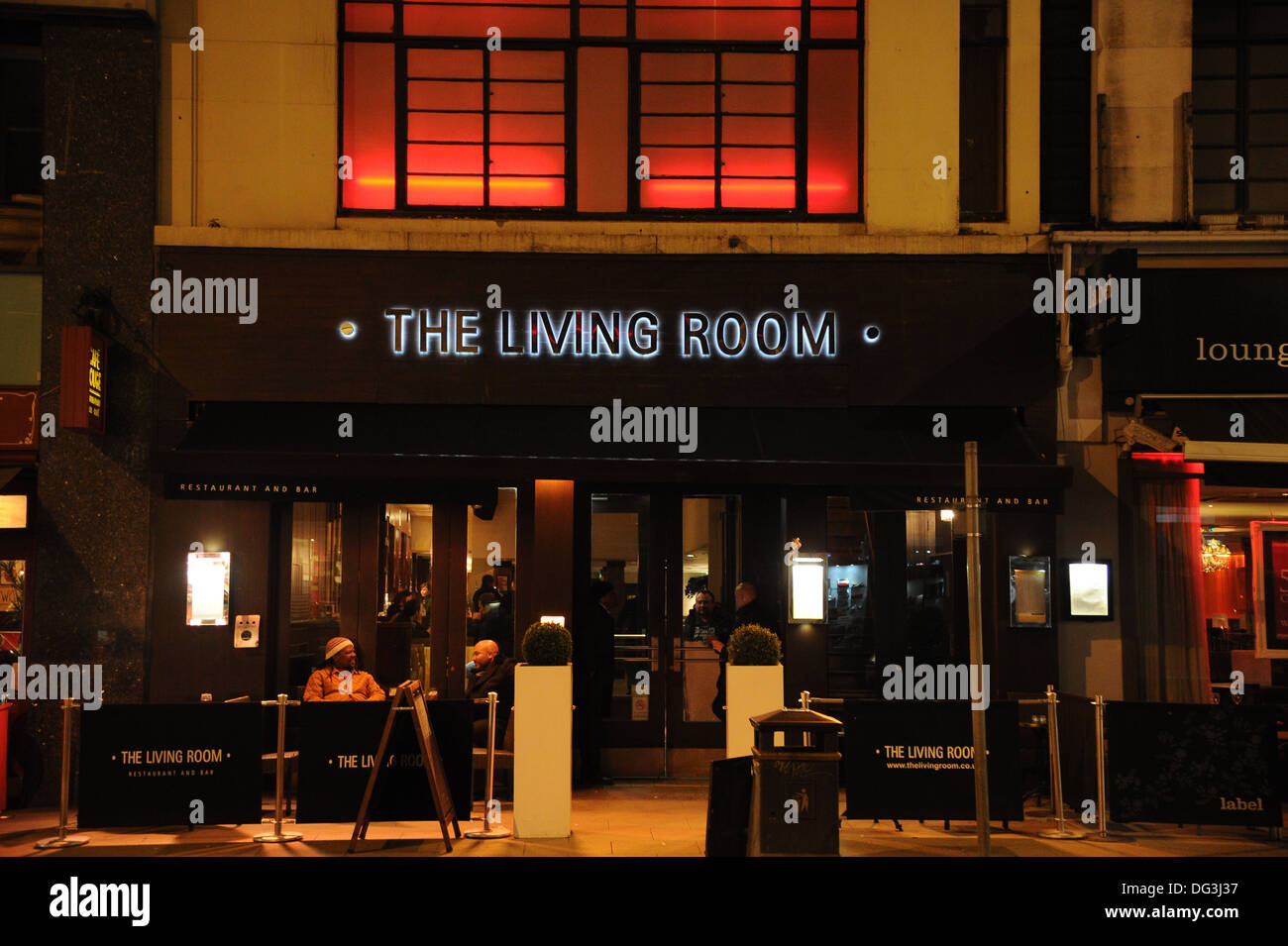 Living Room Restaurant And Bar At Night Manchester, UK