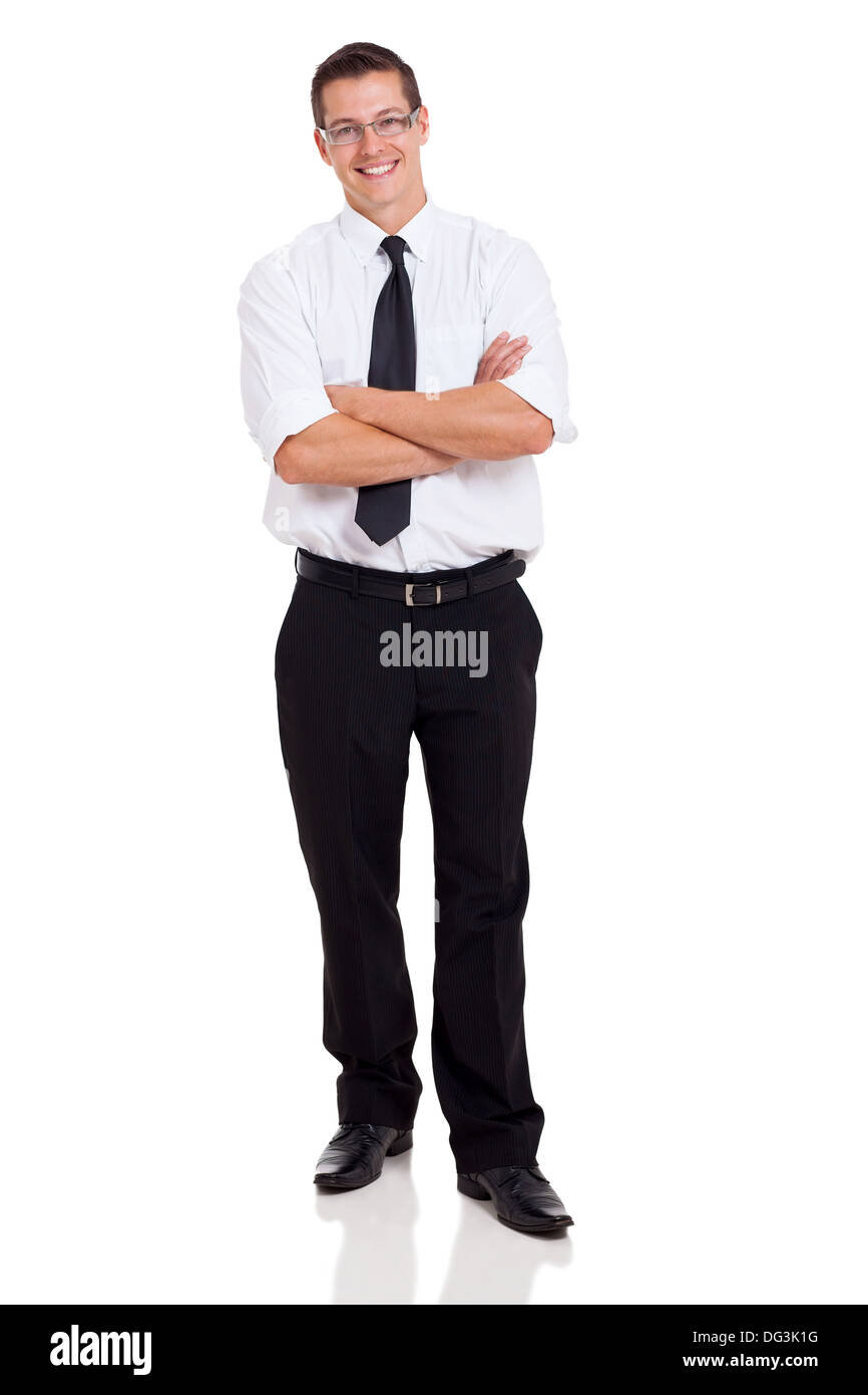 handsome businessperson with arms crossed on white background - Stock Image