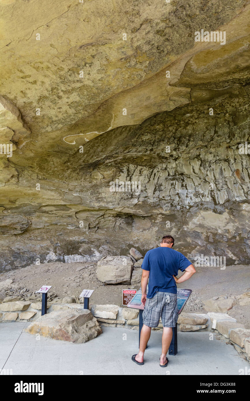 Cave at the Pictograph Cave State Park, Billings, Montana, USA - Stock Image