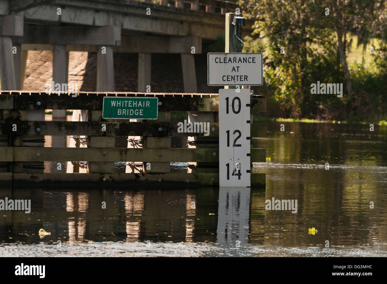 Whitehair Drawbridge water level clearance marker on the St