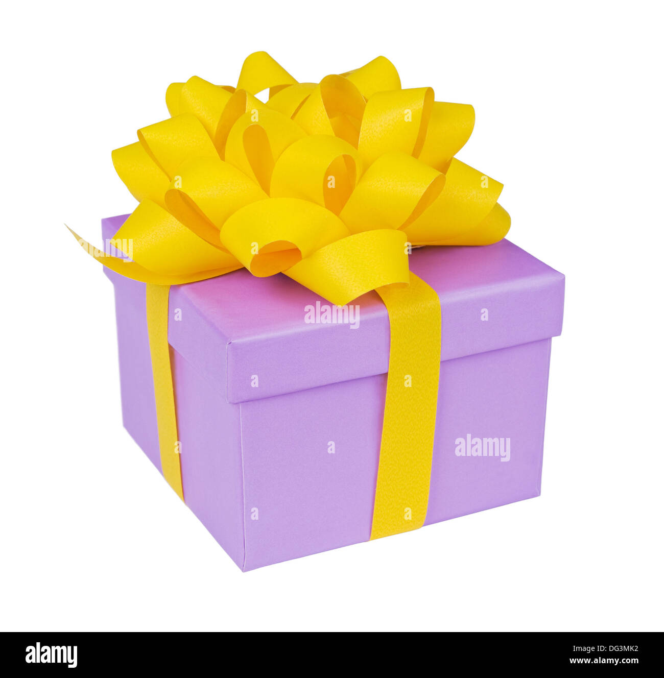 single present box with yellow ribbon isolated on white - Stock Image