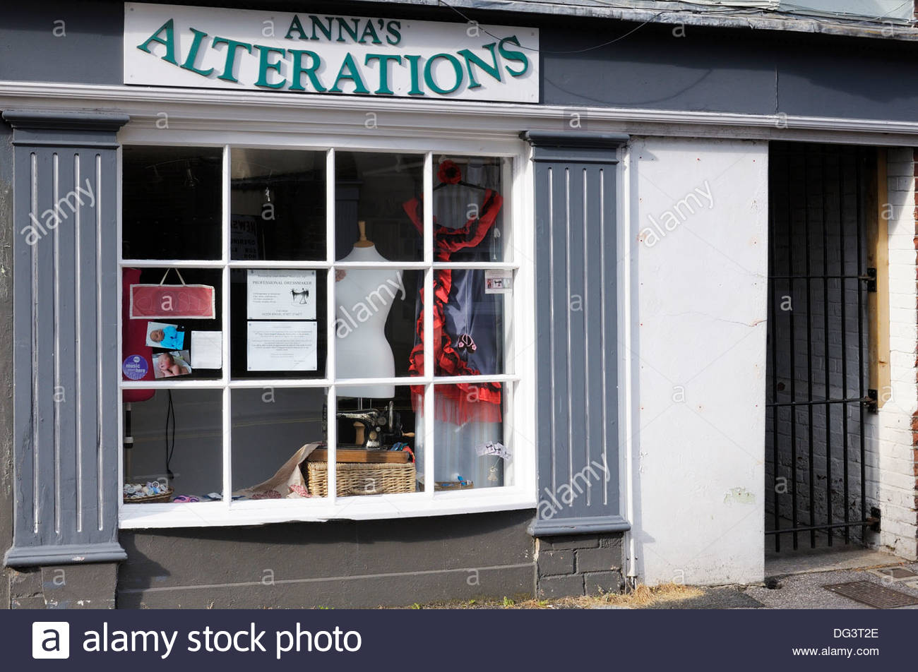 Dressmakers clothes alterations shop, Blandford Forum, Dorset England UK - Stock Image