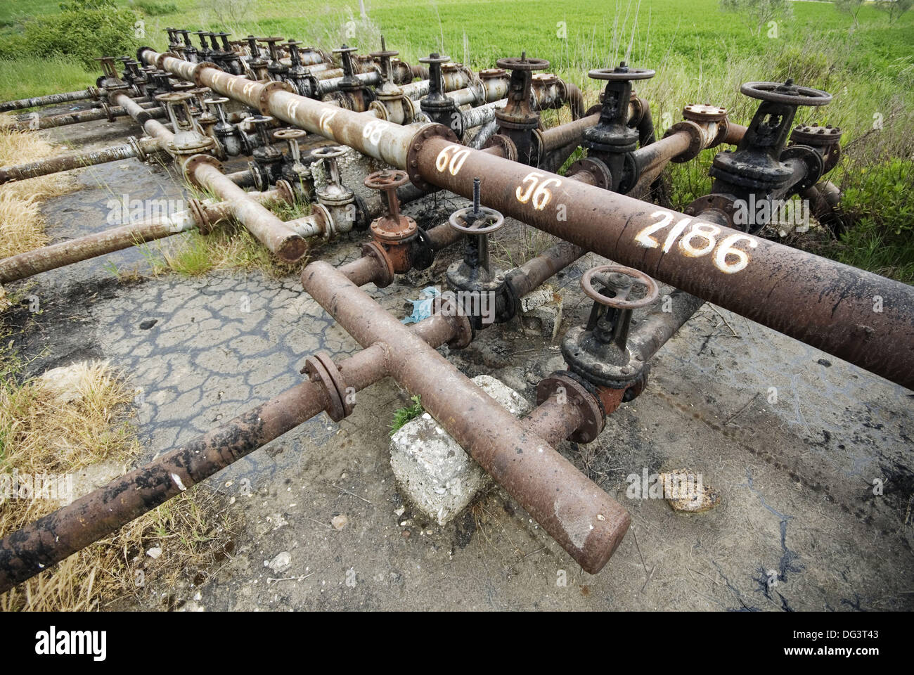 Oil field. Fier, Albania - Stock Image