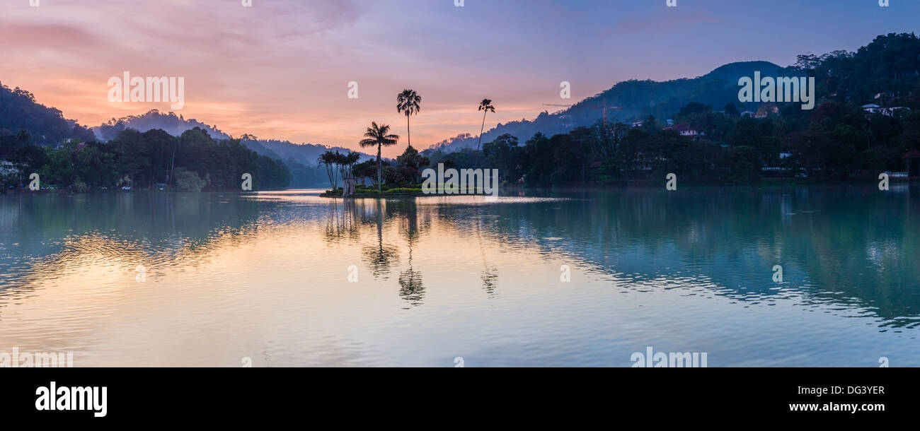 Kandy Lake and the island at sunrise, Kandy, Central Province, Sri Lanka, Asia - Stock Image