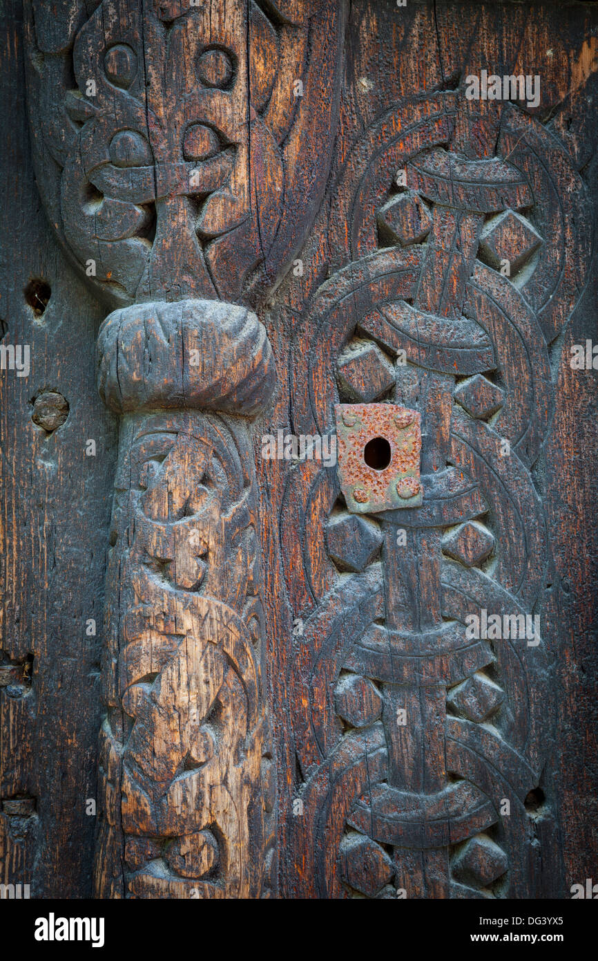 Detail of Gol Stave Church, Norwegian Folk Museum, Bygdoy Peninsula, Oslo, Norway, Scandinavia, Europe - Stock Image