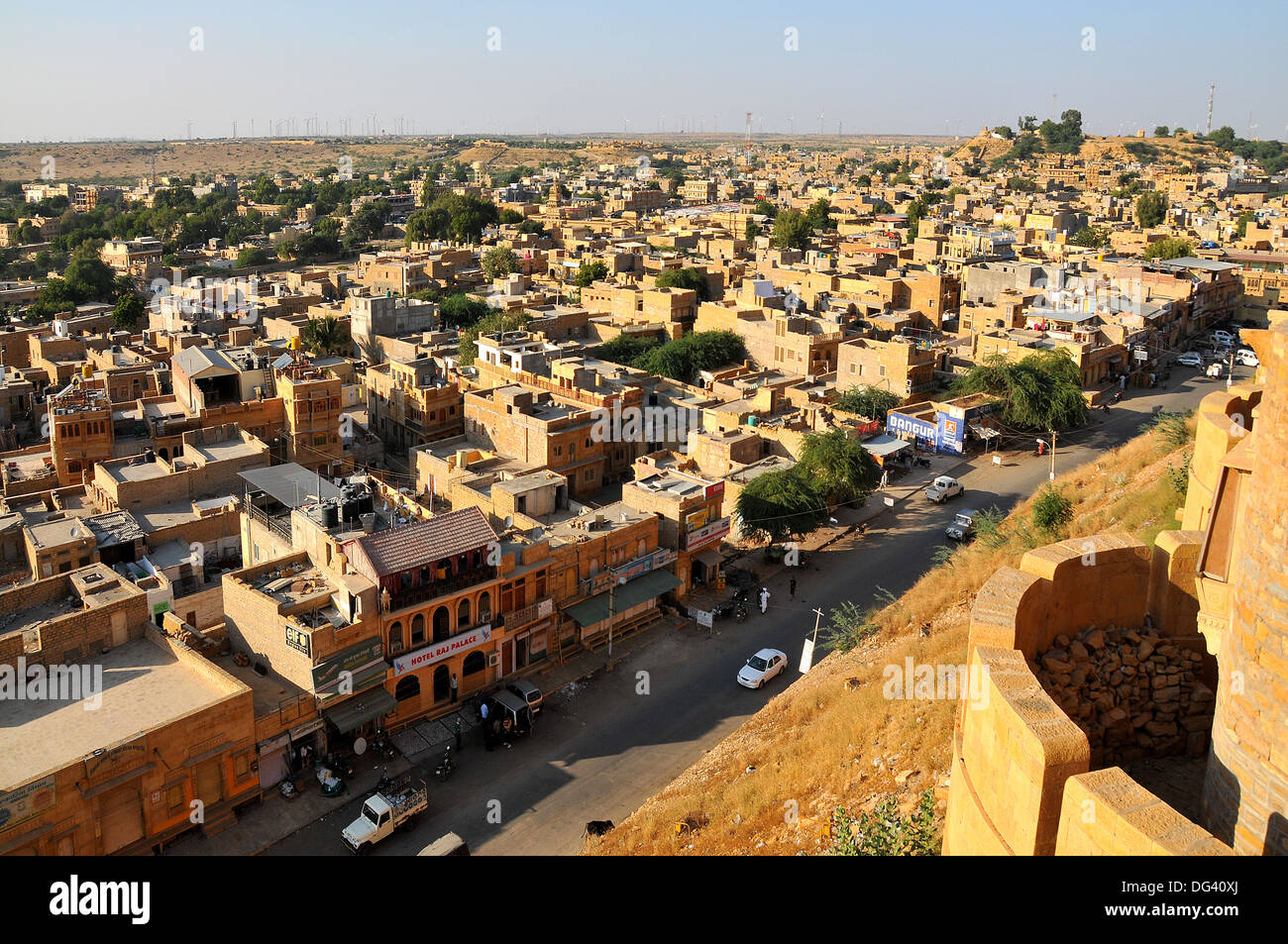 View from the fortifications, Jaisalmer, Rajasthan, India, Asia - Stock Image