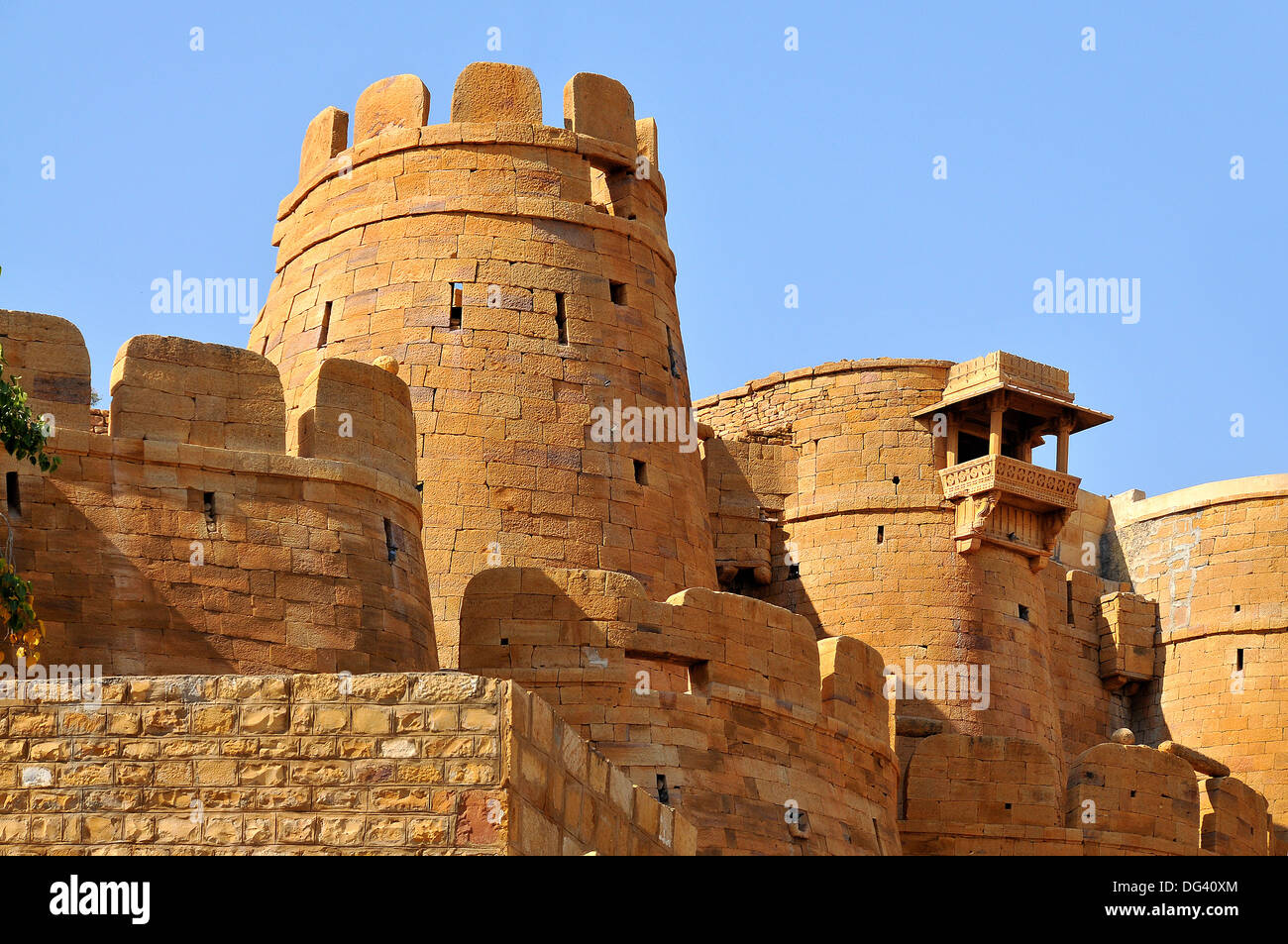 Remparts, towers and fortifications of Jaisalmer, Rajasthan, India, Asia - Stock Image