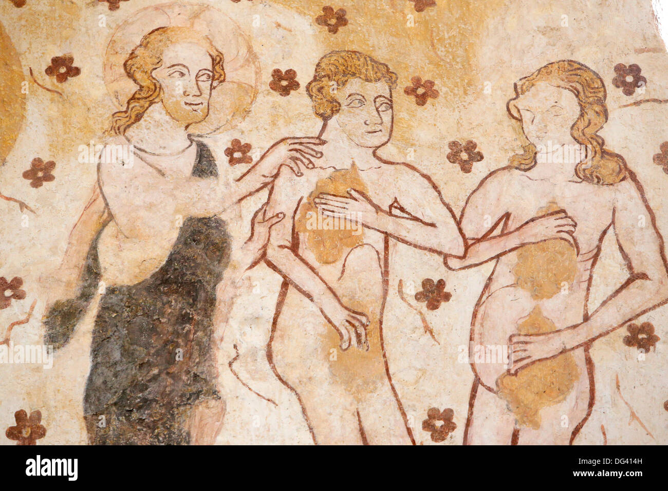 Mural of Adam and Eve banished from the Garden of Eden, dating from the 12th, Church of Moutiers, Yonne, Burgundy, Stock Photo
