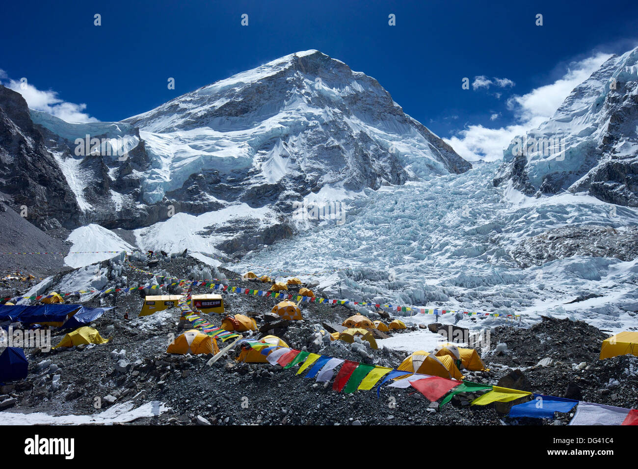 Khumbu icefall from Everest Base Camp, Solukhumbu District, Sagarmatha National Park, UNESCO Site, Nepal, Himalayas - Stock Image