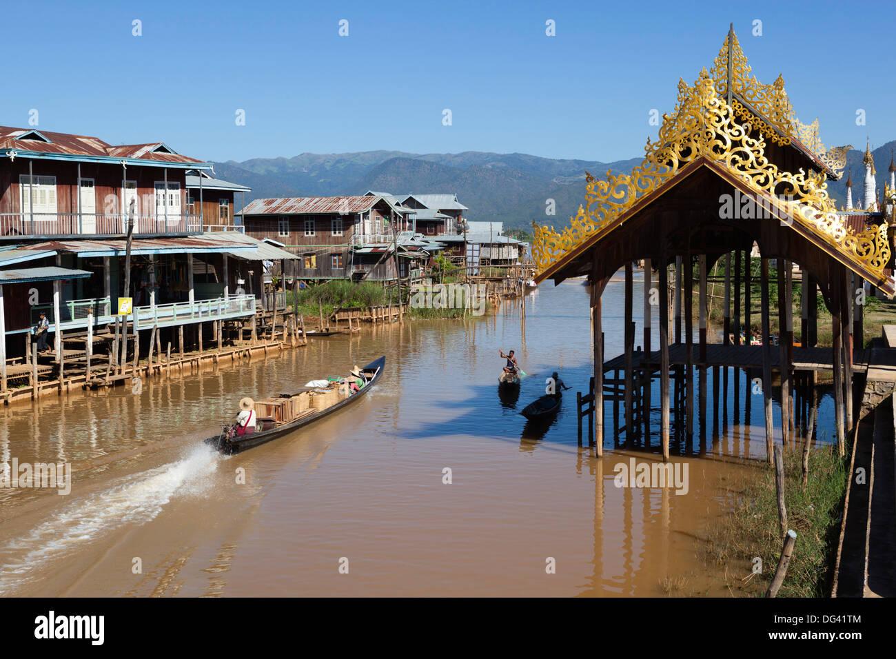 Canal-side village, Inle Lake, Shan State, Myanmar (Burma), Asia Stock Photo