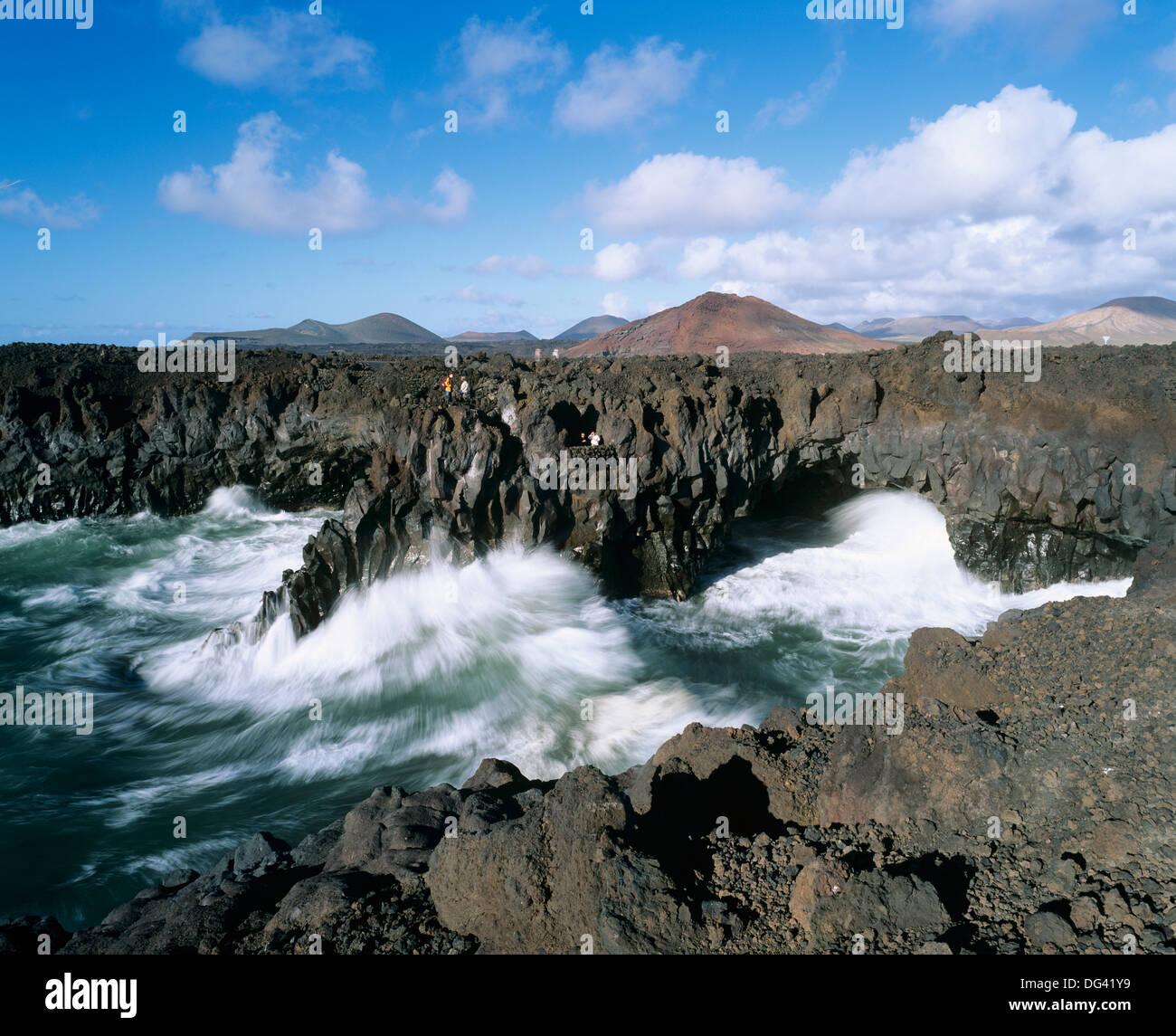 Los Hervideros, El Golfo, Lanzarote, Canary Islands, Spain, Atlantic, Europe - Stock Image
