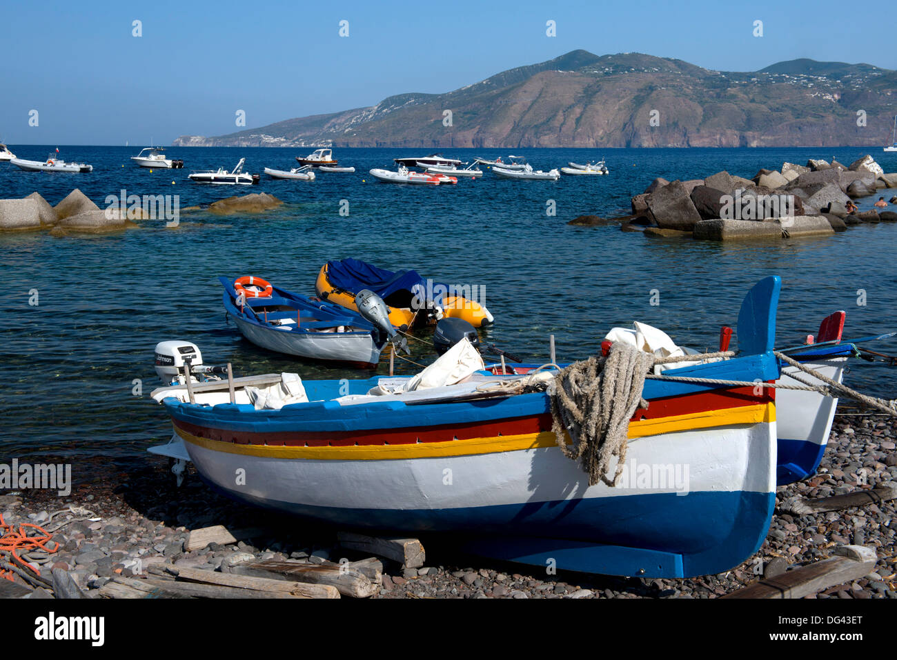 Colourful wooden fishing boats in Lingua, Salina, The Aeolian Islands, UNESCO Site, off Sicily, Messina Province, Italy - Stock Image