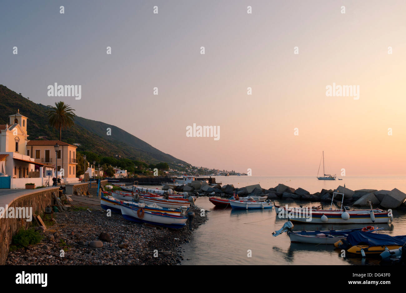 Fishing boats on the beach in Lingua, Salina, The Aeolian Islands, UNESCO Site, off Sicily, Messina Province, Italy - Stock Image