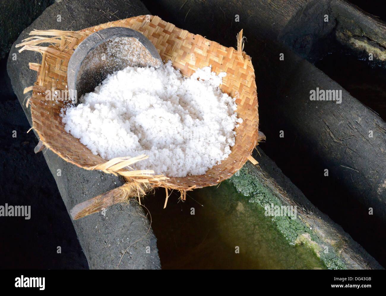Marine salt production, Kusamba, Bali, Indonesia, Southeast Asia, Asia - Stock Image