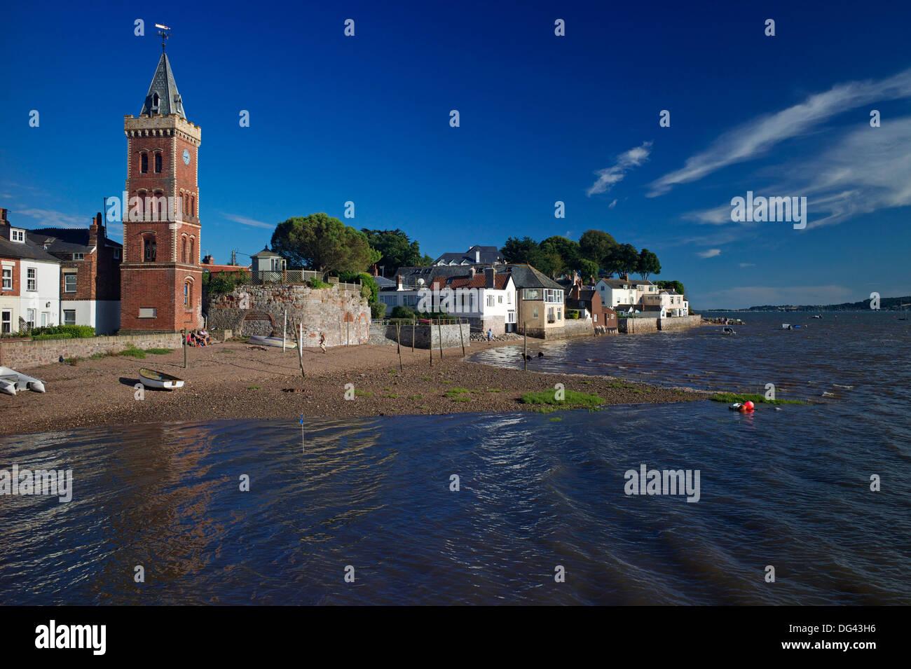 Peters Tower, the harbour, Lympstone, Exe Estuary, Devon, England, United Kingdom, Europe - Stock Image