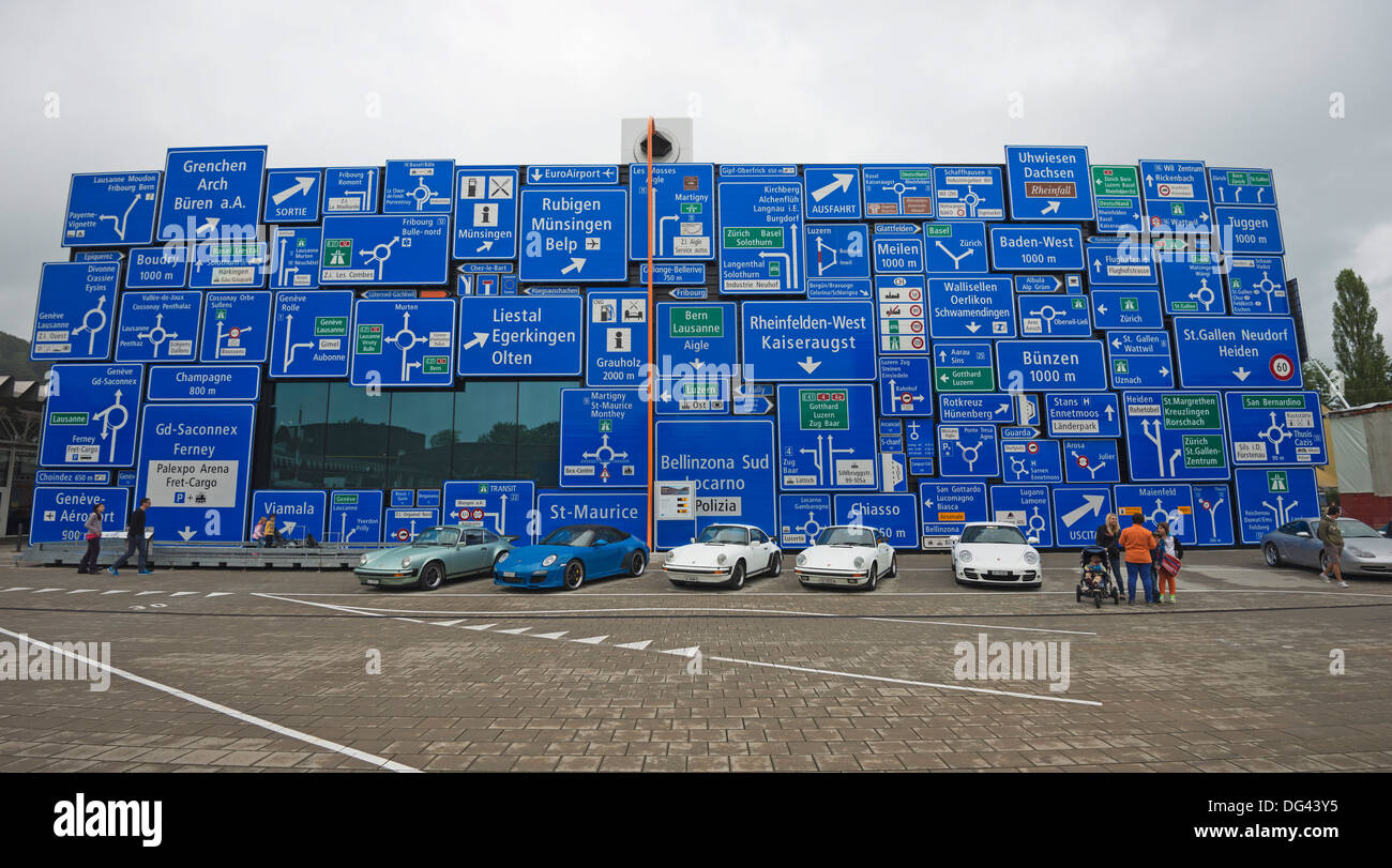 Road signs at Verkehrshaus transport museum, Lucerne, Switzerland, Europe - Stock Image