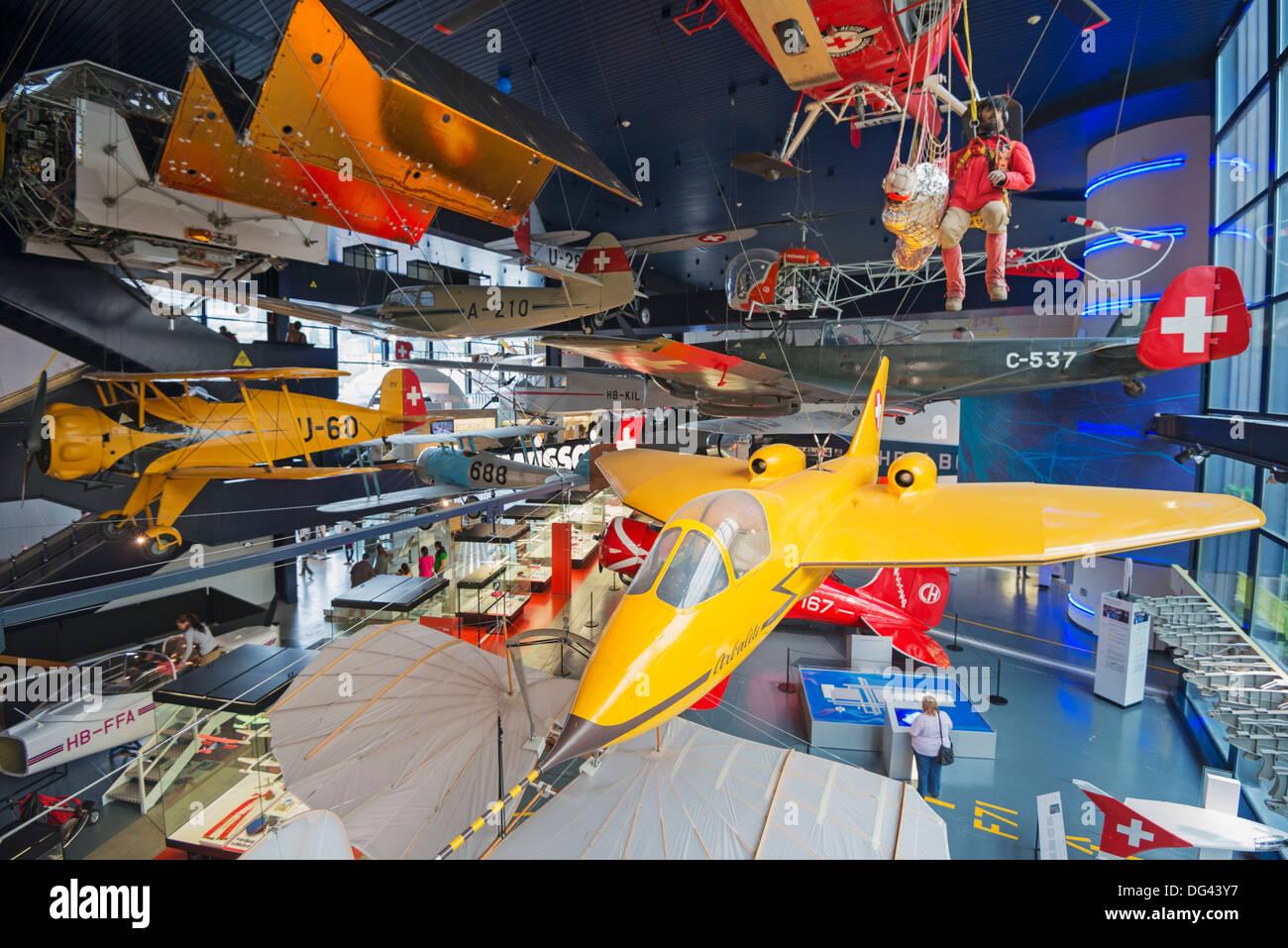 Aircraft at Verkehrshaus transport museum, Lucerne, Switzerland, Europe - Stock Image