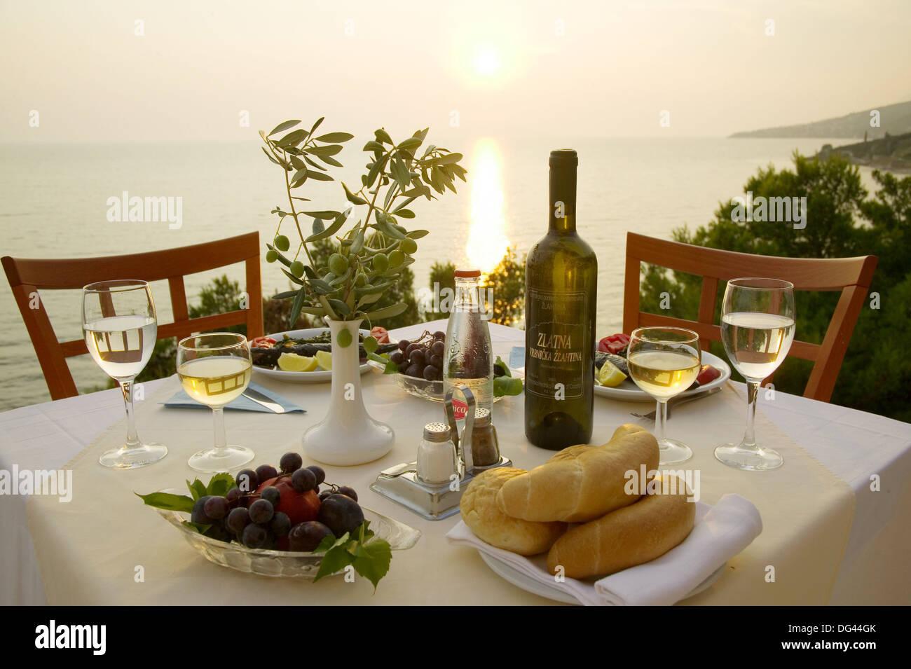 Dinner Croatian style, Makarska Riviera, Croatia Stock Photo