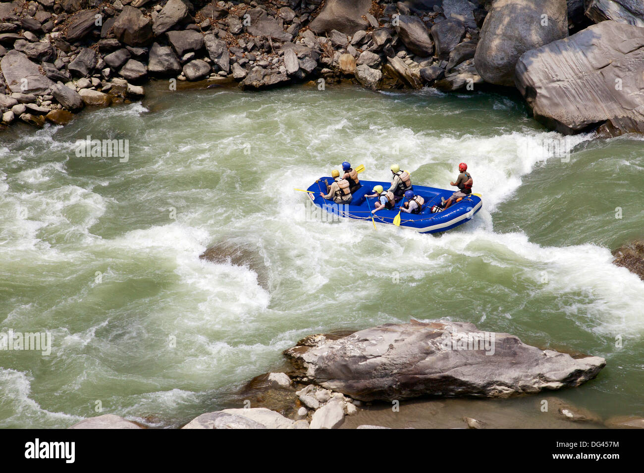 Whitewater rafting on Bhote Koshi river, Nepal, Asia - Stock Image