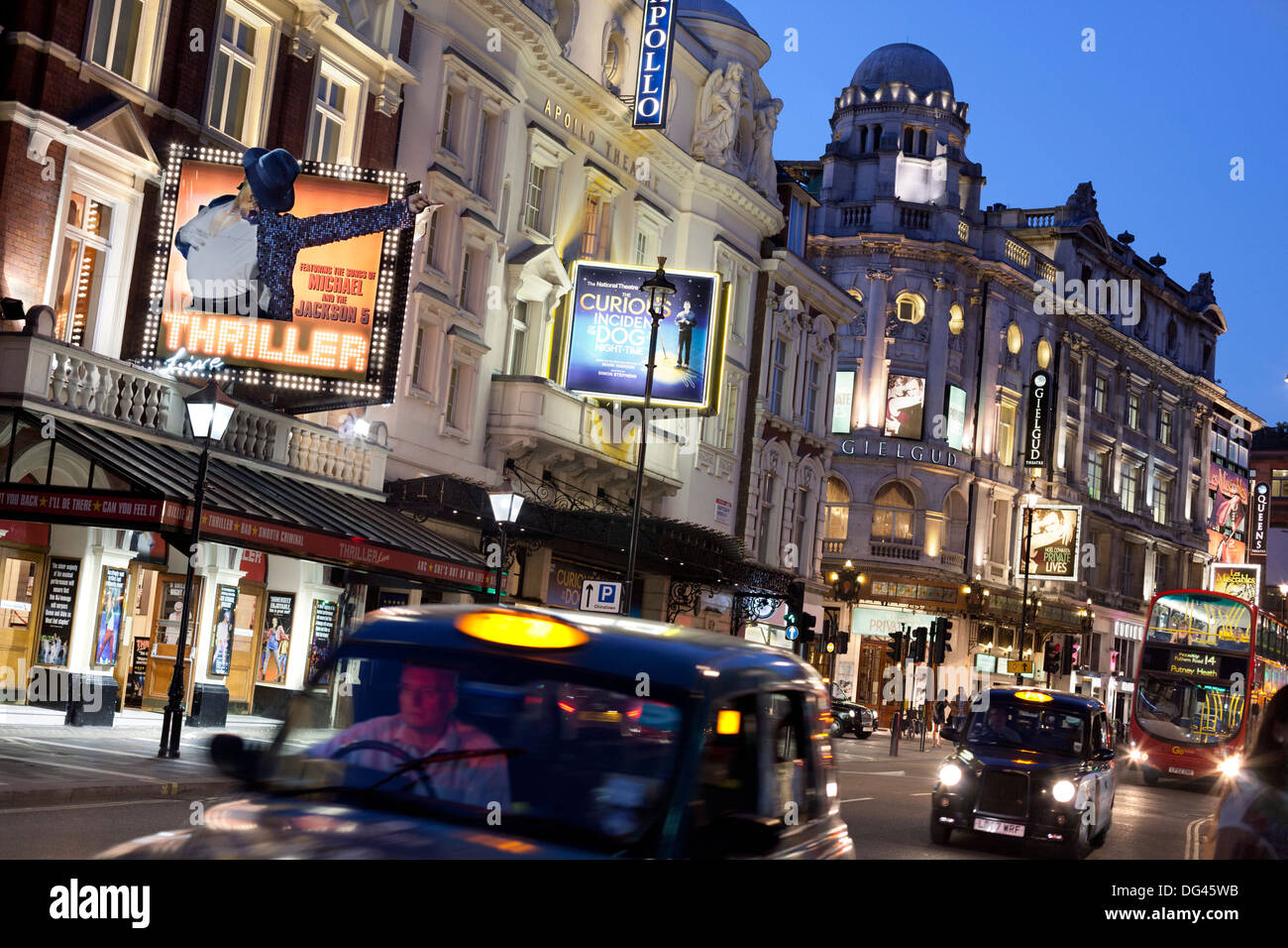 Theatres at night, Shaftesbury Avenue, London, England, United Kingdom, Europe - Stock Image